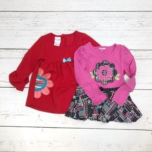 Nanette Kids 2 dresses red pink long sleeve 4T
